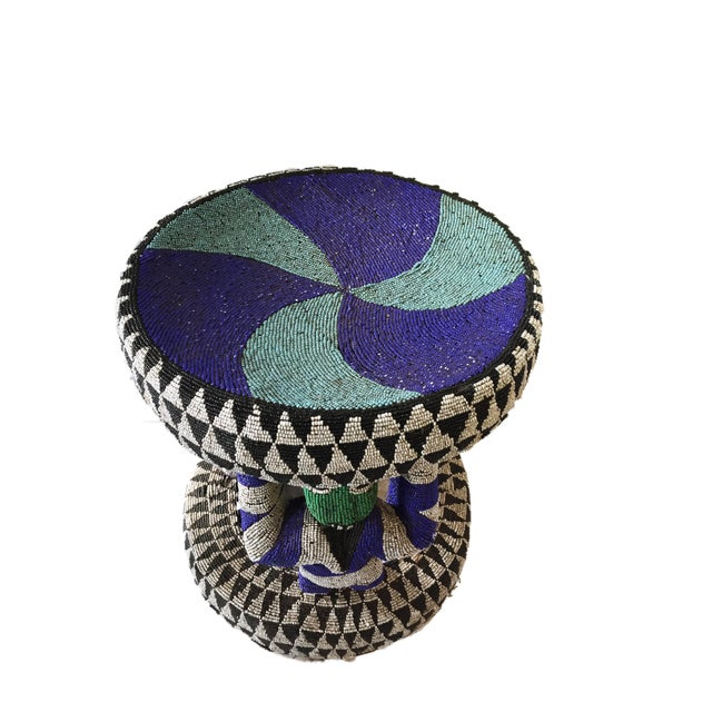 "African Beaded wood Bamileke Stool /Table Cameroon 19'""H For Sale - Image 9 of 12"