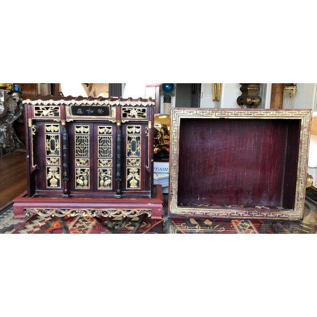 Antique Chinese Qing Era Elaborately Carved Home/Family Shrine For Sale - Image 9 of 10