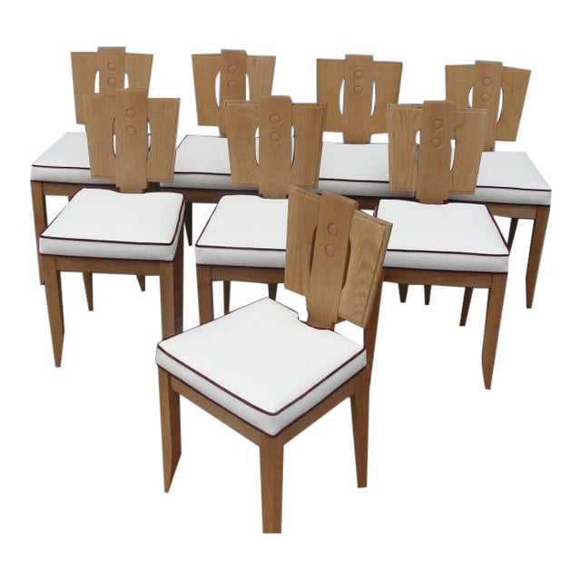 Set of 8 Natural Finish Oak Chairs in the Style of Francis Jourdain For Sale