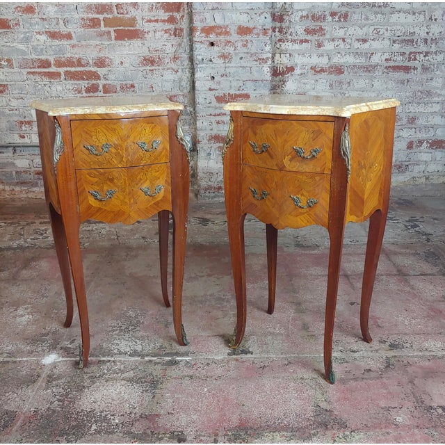 French Antique French Marquetry Petit Commodes W/Marble Top - a Pair For Sale - Image 3 of 10