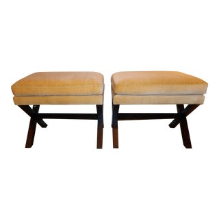 Yellow X Benches Mrs Howard by Lee Furniture- a Pair For Sale