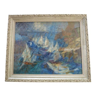 Mid Century Painting Abstract Expressionism Cubism Boat Motion Charlotte Sherman For Sale