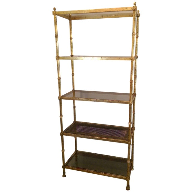 Maison Jansen Hollywood Regency Metal & Glass Etagere - Image 1 of 7