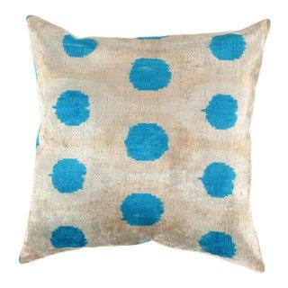 Turkish Hand Woven Silk Velvet Ikat Pillow 20'' #Ti 286 For Sale