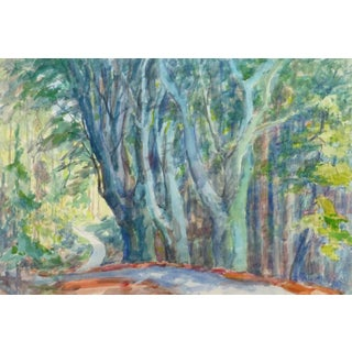 Wilheim Kloden, French Watercolor - Charming Path of Enchantment Through the Trees For Sale
