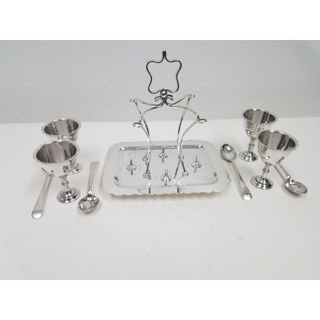English Antique English Silverplate Four Egg Cruet With Spoons - Made by Walker and Hall - Set of 9 For Sale - Image 3 of 12