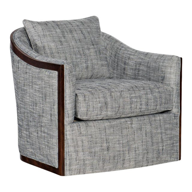 Sam Moore Swivel Chair With Exposed Wood For Sale
