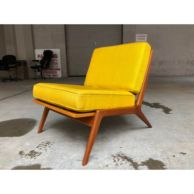 Teak Mid Century Danish Modern Ib Kofod-Larsen for Selig Teak Lounge Chair Yellow Cushions For Sale - Image 7 of 7
