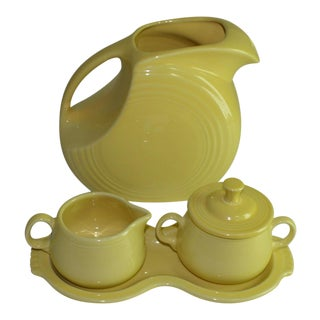 Homer Laughlin Fiestaware Pale Yellow Disc Pitcher, Sugar, Creamer, Tray Set - 4 Pc. For Sale