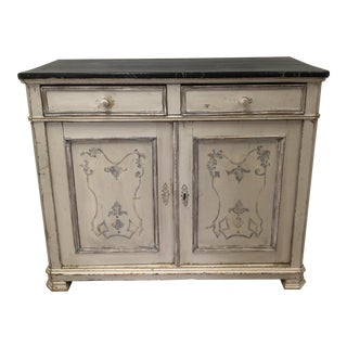 Antique Louis Phillipe Painted Faux Marble Top Pine Buffet For Sale