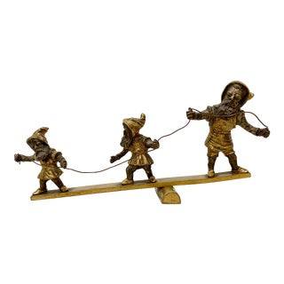 Early 20th C. Gilded Bronze Sculpture of Three Balancing Dwarf's For Sale