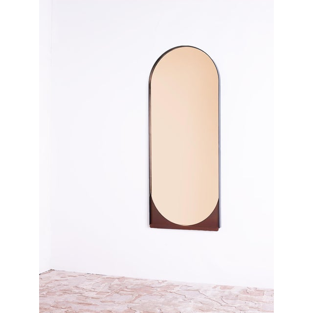 2010s Contemporary Blackened Steel and Patinated Bronze Slip Mirror in Peach For Sale - Image 5 of 6