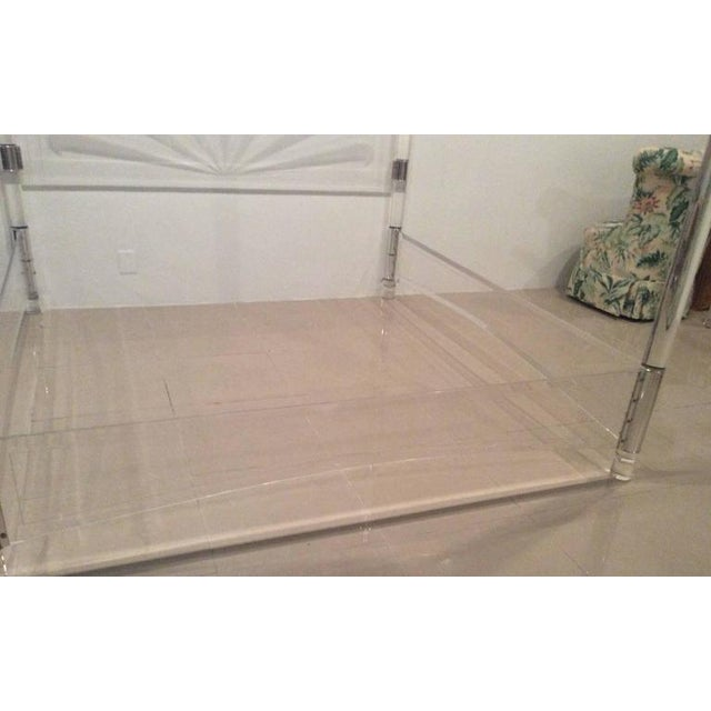 9081953c7006 Mid-Century Lucite   Chrome Four Post Canopy King Size Bed For Sale - Image