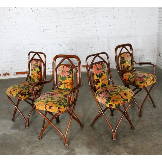Bentwood Antique Gebruder Thonet Bentwood Chairs - Set of 4 For Sale - Image 7 of 11