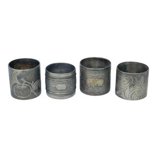 Four Napkin Rings Engraved Silverplate Victorian Era - Set of 4 For Sale
