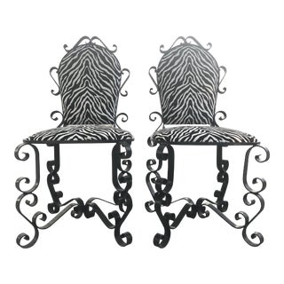 Italian Scroll Wrought Iron Zebra Chairs - a Pair For Sale