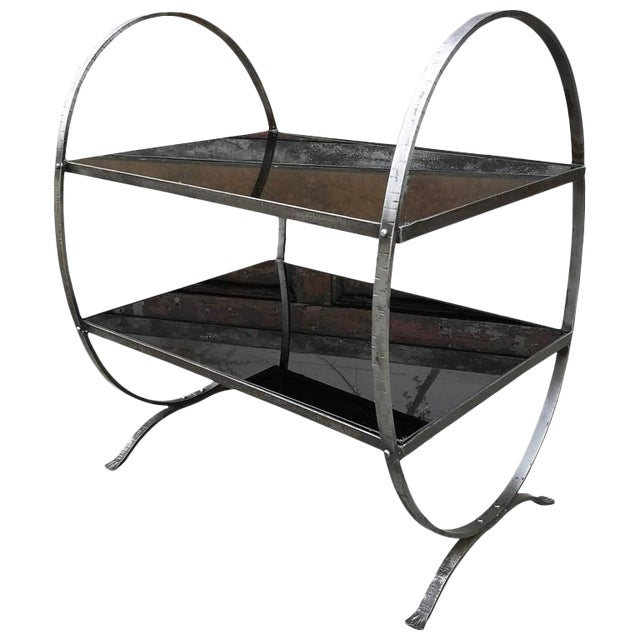 1930s Art Deco Etched Steel and Cobalt Glass Two-Tier Side Table For Sale