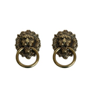 Brass Lion's Head Drawer Pulls, a Pair For Sale