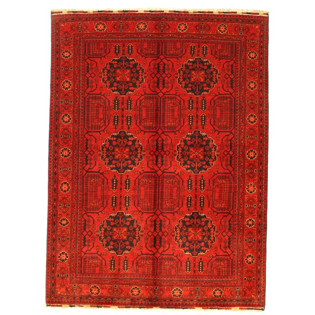 """Pasargad N Y Afghan Bashir Red Hand Knotted Rug - 4′9"""" × 6′4″ For Sale - Image 4 of 4"""