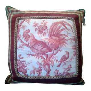 Country French Red Rooster Pillow