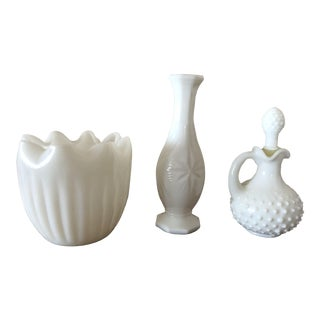 Mid-Century Milk Glass Vessels - 4 Pieces For Sale