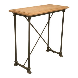 French Rift White Oak & Steel Console Table For Sale