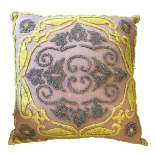 1940s Vintage Chenille Embroidered Pillow For Sale