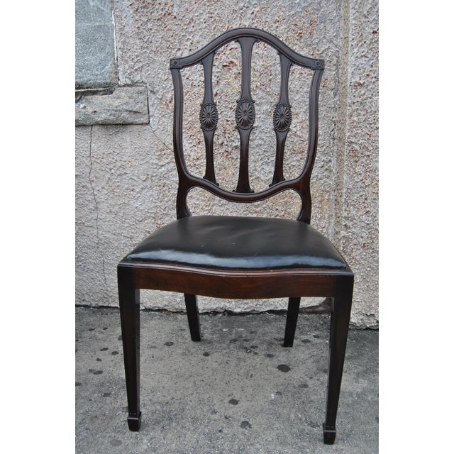 Black Mahogany English Hepplewhite Style Chairs- Set of 12 For Sale - Image 8 of 13