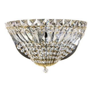 Crystal Drop Basket Wall Sconce With Gold Finish For Sale
