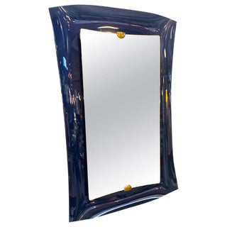 Fontana Arte Blue Mirror, Italy C. 1950s For Sale