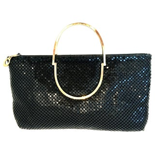 20th Century Black Metal Mesh & Gilt Brass Double Handle Hand Bag By Whiting & Davis For Sale