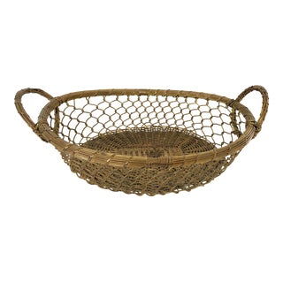 Vintage Handwoven Oval Brass Chainlink Basket For Sale