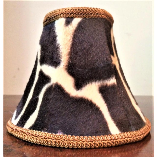 Rustic Silk-Lined Velvet Cow Hide Pattern Lamp Shades for Chandelier or Sconces - Set of 6 For Sale - Image 3 of 10