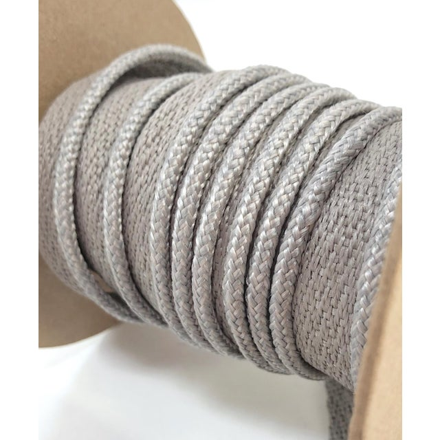 "2010s Braided 1/8"" Indoor-Outdoor Gray Cord Trim For Sale - Image 5 of 9"