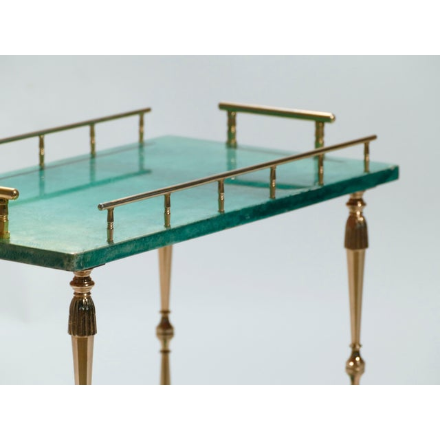 Blue Small Aldo Tura Goatskin Parchment Bar Cart, 1950s For Sale - Image 8 of 10