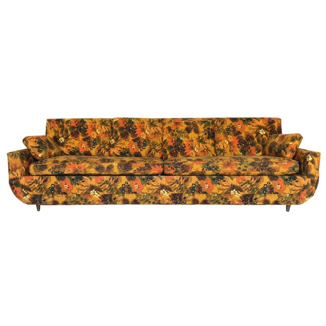 1967 Vintage Bernard Castro Mid Century Modern Floral Sleeper Sofa For Sale