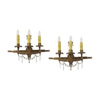 Bradley & Hubbard Bronze and Crystal Wall Sconces - A Pair For Sale