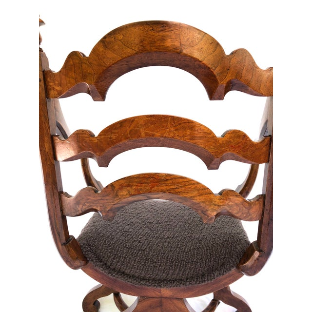 Early 20th Century 20th Century Italian Cross Base Neoclassical Wood Armchair For Sale - Image 5 of 11