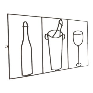 Minimalist Graphic Iron Wall Sculpture with Bar Elements, France, circa 1940s For Sale