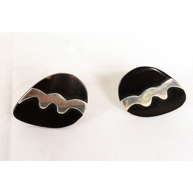 Mexican Modernist Silver & Onyx Cufflinks For Sale - Image 4 of 5