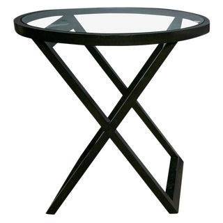 Black Ralph Lauren Mercer Street Lacquered Bistro or Lamp Table With Glass Top For Sale