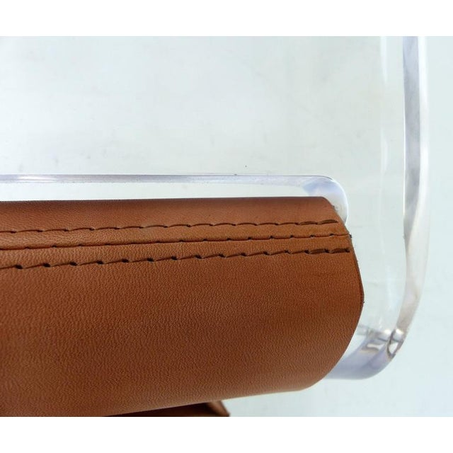 Animal Skin Custom-Made Lucite Side Table with Leather Magazine Pocket For Sale - Image 7 of 10