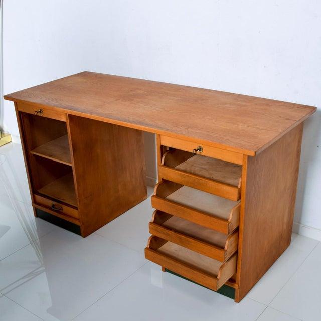 Adolf Maier Blonde Bauhaus Desk Locking Tambour Doors, Germany For Sale - Image 4 of 9