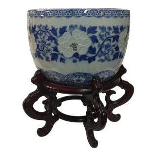 Chinese Jardinere With Stand Blue & White For Sale