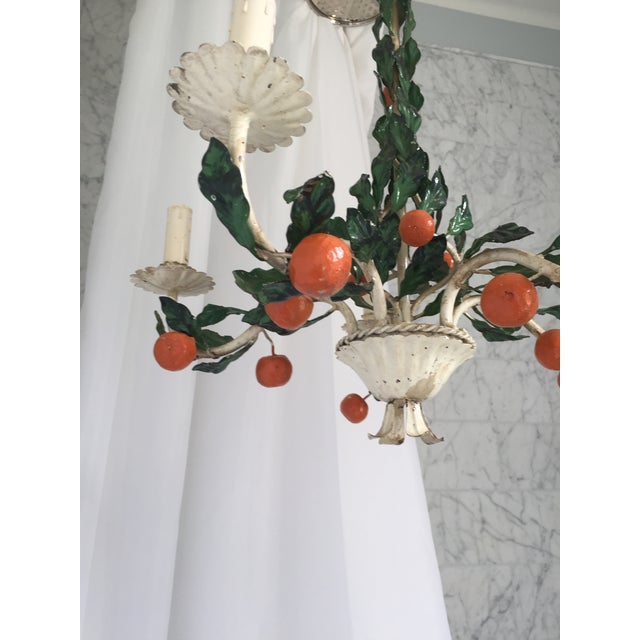 1950s Italian Tole Painted Tangerine 5-Light Chandelier For Sale - Image 5 of 11