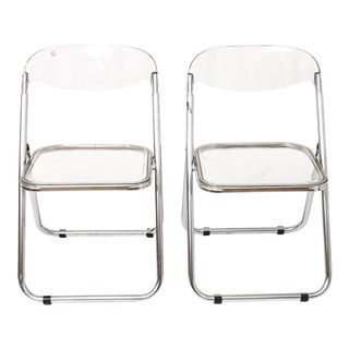 Giancarlo Piretti for Castelli Modern 'Plia' Acrylic Chairs - a Pair For Sale