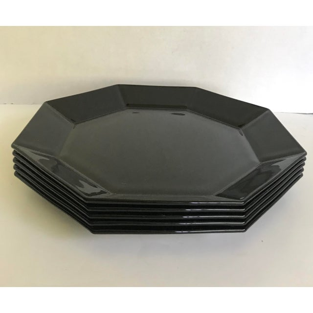 Postmodern Vintage Arcoroc French Black Octagonal Plates - Set of 5 For Sale - Image 3 of 6