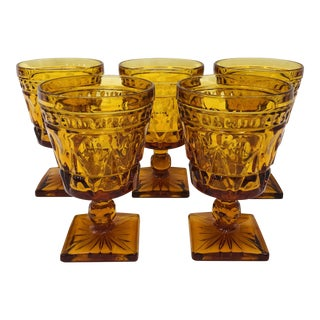 Set Vintage Amber Goblets For Sale