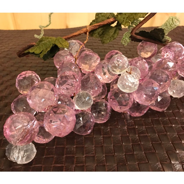 Lucite Pink & White Faceted Lucite Grapes - A Pair For Sale - Image 7 of 8