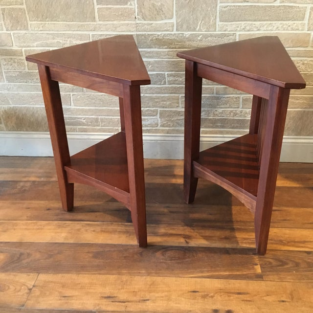 Late 20th Century Late 20th Century Ethan Allen Solid Cherry Triangle Corner Side Table For Sale - Image 5 of 13